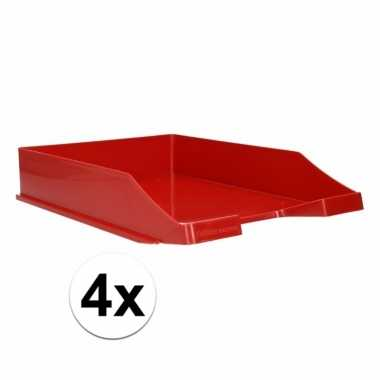 Rode documentenbak a4 4 stuks