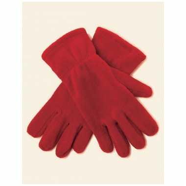 Rode fleece handschoenen voor mannen en dames