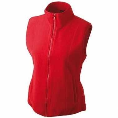 Rode fleece sport bodywarmers voor dames