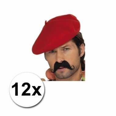 Rode franse baretten 12 st