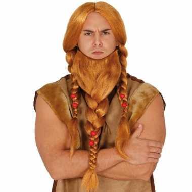 Rode germanen pruik met gevlochten baard