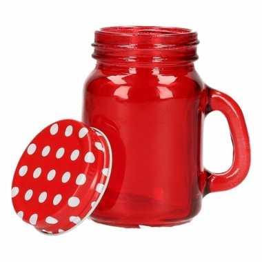 Rode glazen voorraad potjes 120 ml