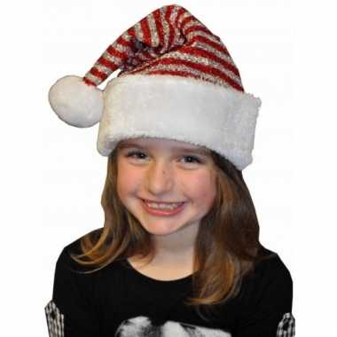 Rode glitter kerstmuts voor kinderen