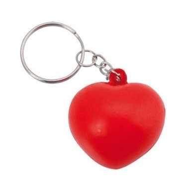 Rode hartvormige stressbal sleutelhanger