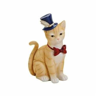 Rode katten poezen spaarpot van keramiek 22 cm