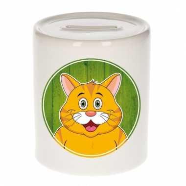 Rode katten spaarpot van keramiek 9 cm