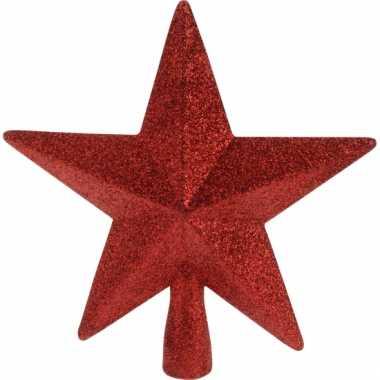 Rode kerstboom piek met glitters
