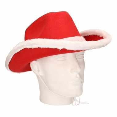 Rode kerstman cowboyhoed voor volwassenen