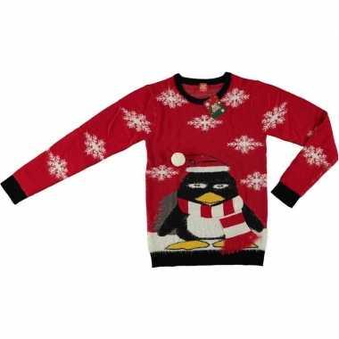 Rode kerstmis trui coole pinguin voor volwassenen