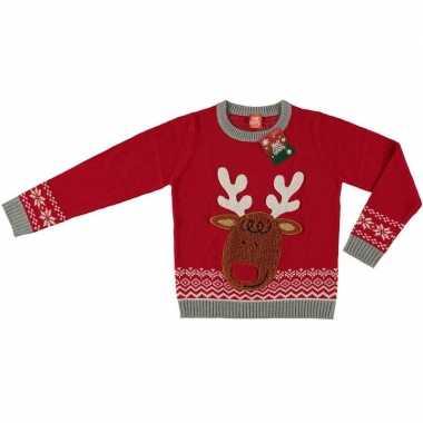 Rode kerstmis trui rendier voor kinderen