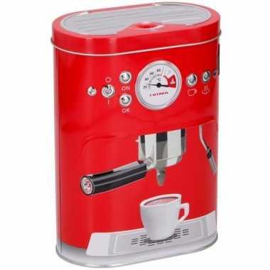 Rode koffie opbergblik met espressomachine opdruk 17 cm