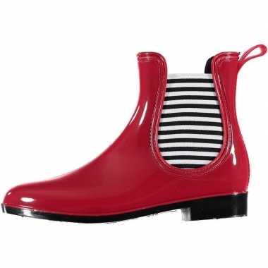 Rode korte dames regenlaarzen chelsea boots