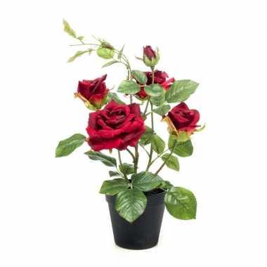 Rode kunstplant roos in pot 40 cm
