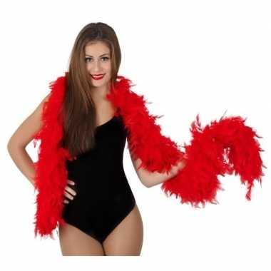 Rode luxe veren boa 180 cm