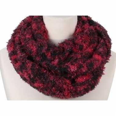 Rode melee pluche ronde sjaal voor volwassenen