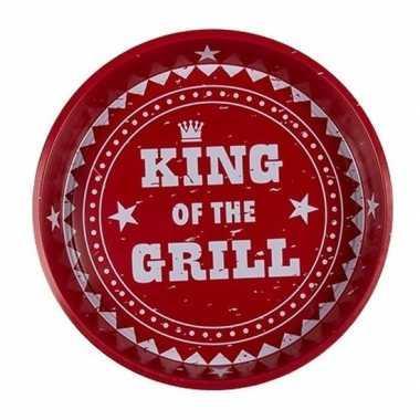 Rode metalen onderzetter king of the grill