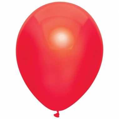 Rode metallic ballonnen 30 cm 10 stuks