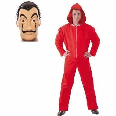 Rode overall maat l en masker la casa de papel voor heren