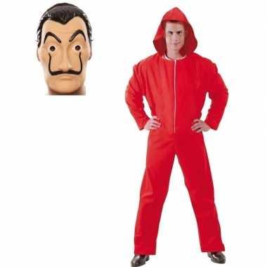 Rode overall maat m en masker la casa de papel voor heren