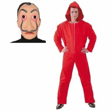 Rode overall papel voor heren salvador dali masker