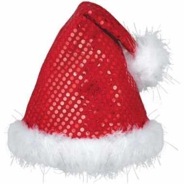 Rode pailletten kerstmutsen