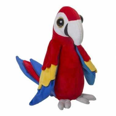 Rode papegaaien knuffel 25 cm