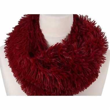 Rode pluche ronde sjaal 80 cm voor volwassenen