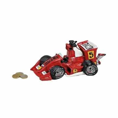 Rode raceauto spaarpot van keramiek 25 cm
