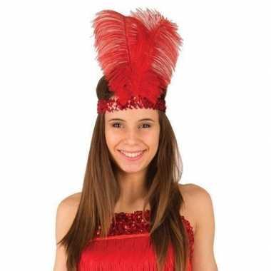 Rode roaring 20 hoofdband met veren voor dames