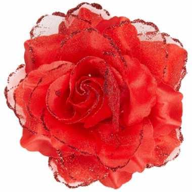 Rode roos haarspeld met glitters