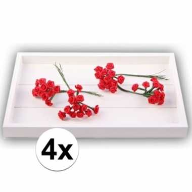 Rode satijnen roosjes 12 cm 48 stuks