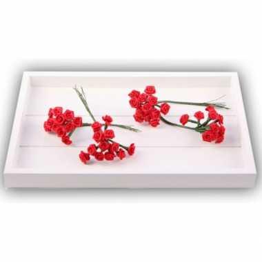 Rode satijnen roosjes 12 cm