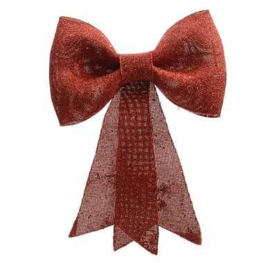 Rode strik voor in de kerstboom 14 cm