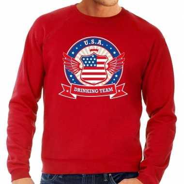Rode usa drinking team sweater heren