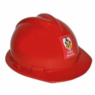 Rode verstelbare brandweerhelm verkleed accessoire volwassenen