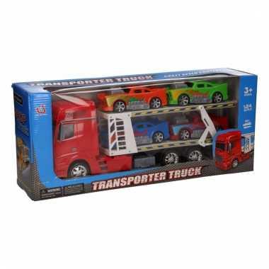 Rode vrachtwagens 44 cm met vier voertuigen