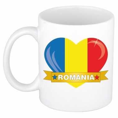 Roemeense vlag hart mok / beker 300 ml