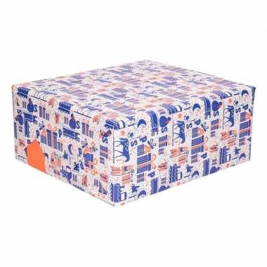 Rol kadopapier paars/wit/oranje van sinterklaas