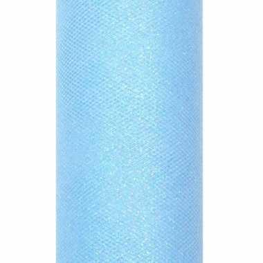 Rolletje tule stof lichtblauw met glitters 15 cm