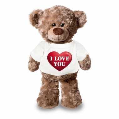 Romantisch cadeau i love you hartje knuffel beer 24 cm
