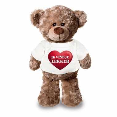 Romantisch cadeau ik vind je lekker hartje knuffel beer 24 cm
