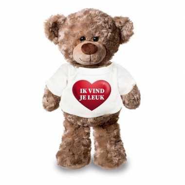 Romantisch cadeau ik vind je leuk hartje knuffel beer 24 cm