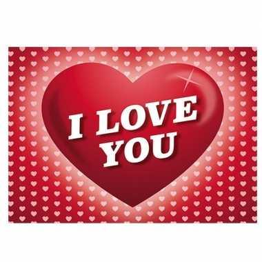 Romantische valentijnskaart i love you ansichtkaart met hartjes