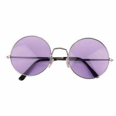 Ronde hippie / flower power bril xl paars