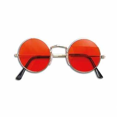 Ronde hippie flower powerbril oranje