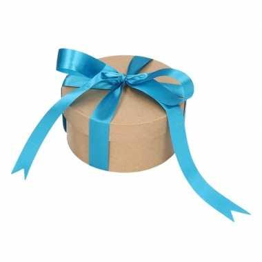 Ronde kerst cadeaudoosjes 14,5 cm met blauwe strik