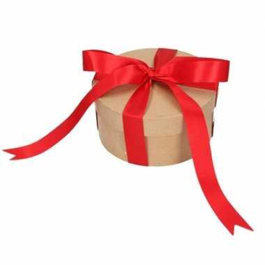 Ronde kerst cadeaudoosjes 14,5 cm met rode strik