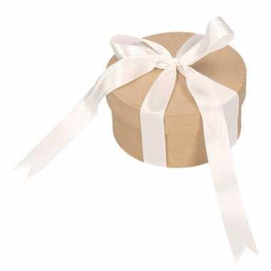 Ronde kerst cadeaudoosjes 14,5 cm met witte strik