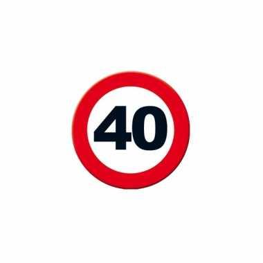 Ronde poster verkeersbord 40 jaar