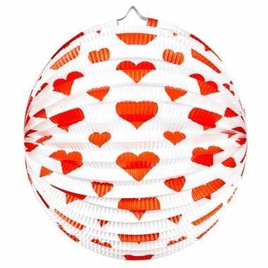 Ronde rood/witte bollampion met hartjes